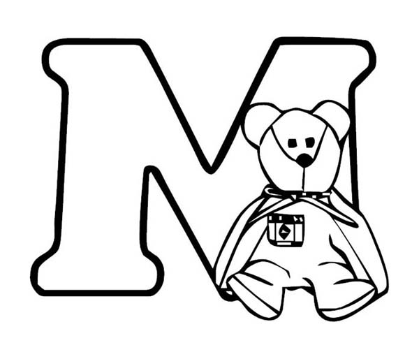 600x514 Teddy Bear With Letter M Coloring Page