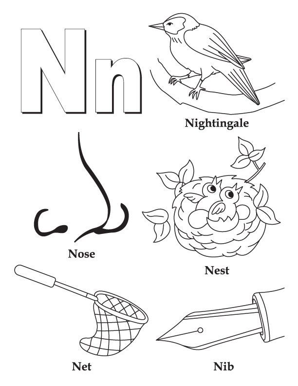 612x792 At Letter N Coloring Page