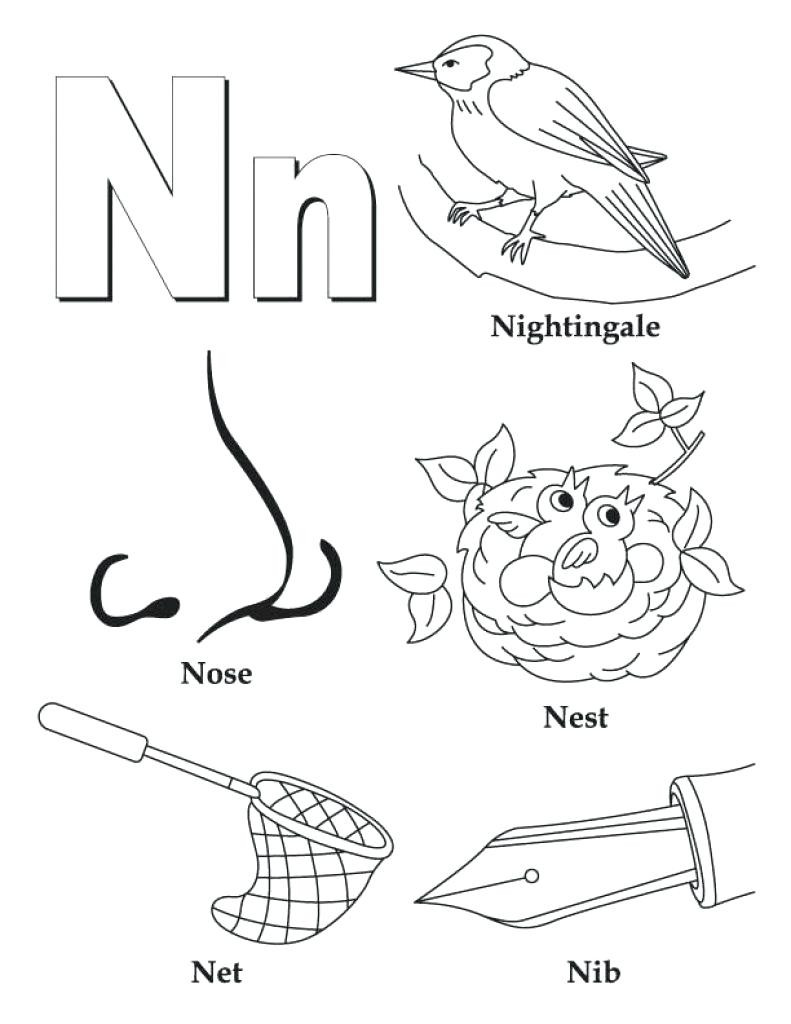 791x1024 Letter N Coloring Pages For Kids Preschool And Kindergarten