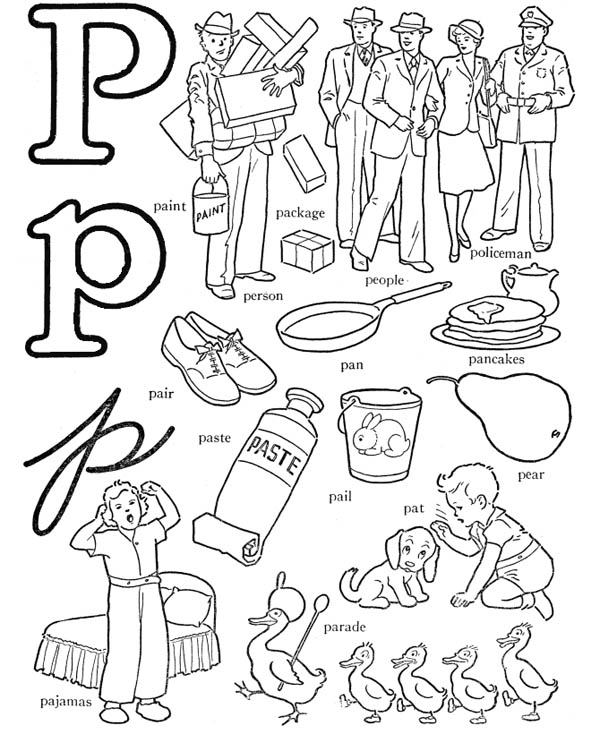 600x734 Preschool Kids Learn Letter P Coloring Page Coloring Sun