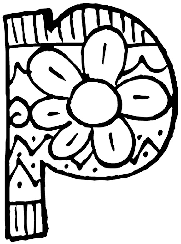 579x780 Coloring Page Letter P Lower Case
