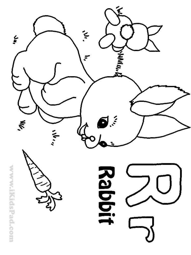 768x1024 Letter R Coloring Pages For Rabbit Free Printable Kids Toddlers