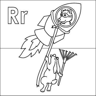 400x400 Letter R Coloring Page