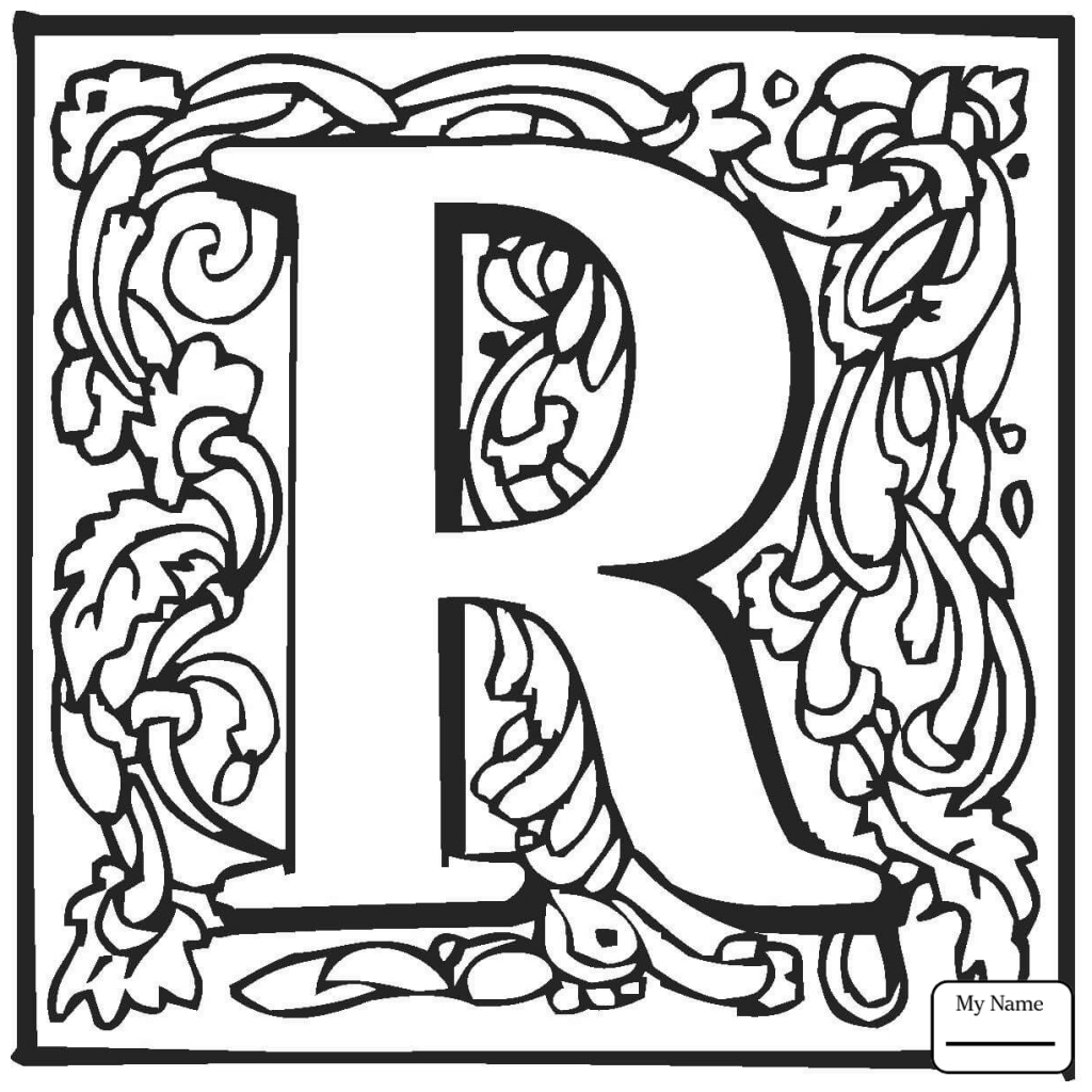 1024x1024 Coloring Pages Letters And Alphabet Letter R Classic Letter R