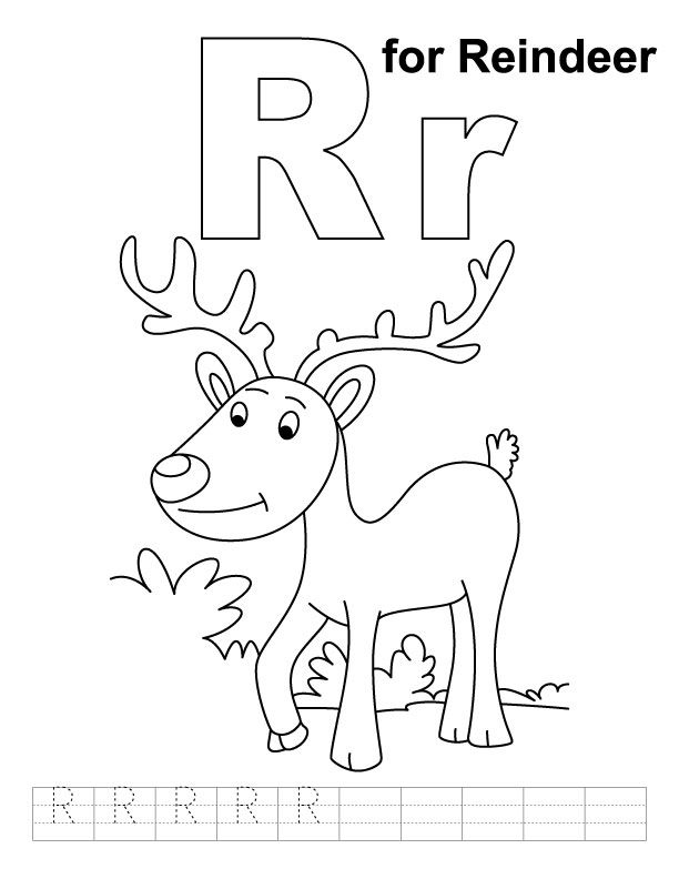 612x792 R For Reindeer Coloring Page With Handwriting Practice Girl