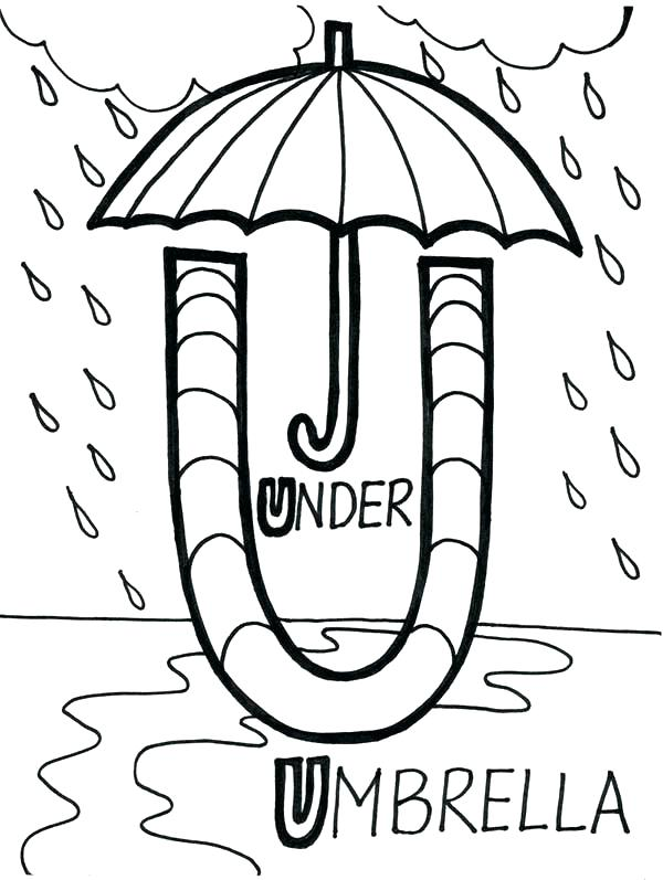 600x797 U Coloring Pages Learn Alphabet Umbrella Is For Letter U Coloring