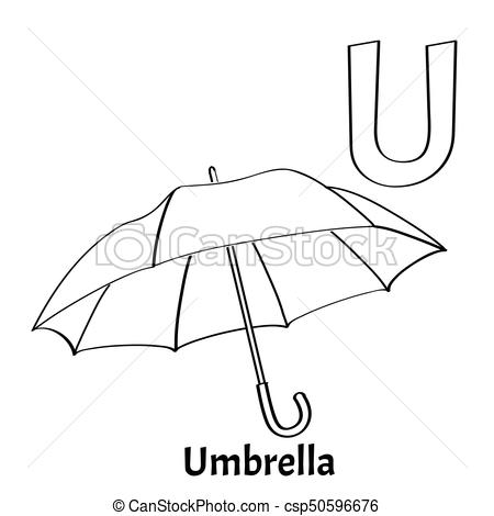 450x470 Vector Alphabet Letter U, Coloring Page Umbrella Vector