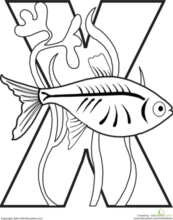 346x440 Letter X Coloring Page Worksheets, Animal Alphabet And Alphabet