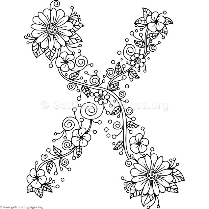 700x700 Download Free Floral Alphabet Letter X Coloring Pages