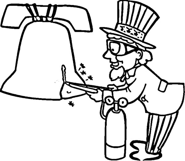 600x522 Uncle Sam Try To Fix Liberty Bell Coloring Pages Batch Coloring
