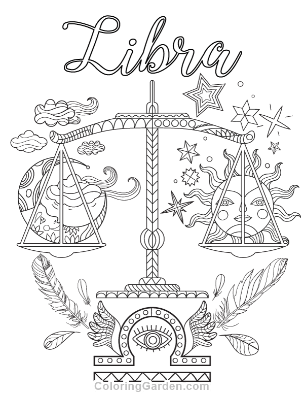 600x776 Free Printable Libra Adult Coloring Page Download It In Pdf