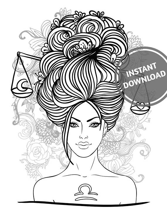 570x737 Libra Girl Gift Printable Coloring Adult Colouring Adult