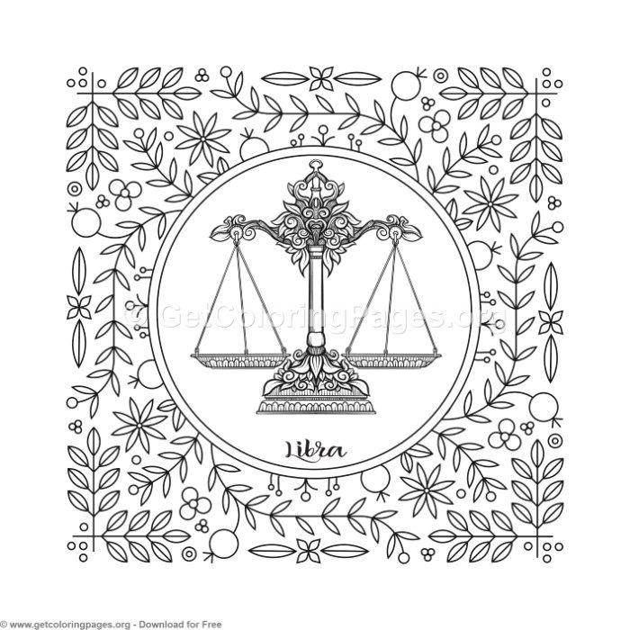 700x700 Libra Zodiac Element Coloring Pages