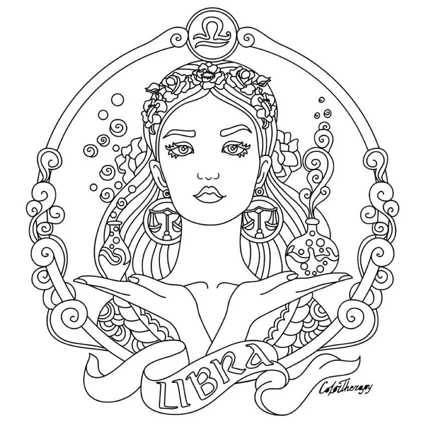 850x850 Libra Zodiac Beauty Colouring Page Color Therapy