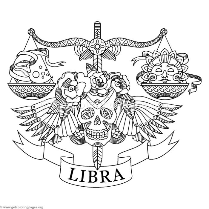 700x700 Zentangle Libra Horoscope Sign Coloring Pages