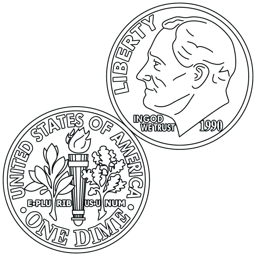 863x863 Coin Coloring Pages