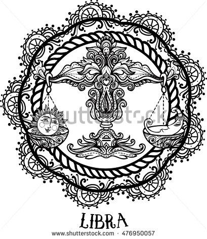 409x470 Detailed Libra In Aztec Filigree Line Art Zentangle Style Tattoo
