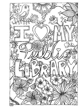 270x350 I Love My Public Library Coloring Page