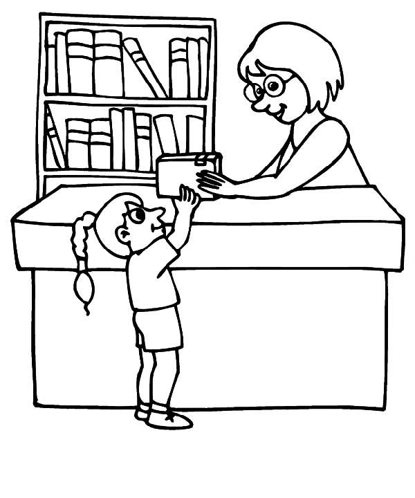 600x720 Library Coloring Page Library Coloring Pages Borrowing Book
