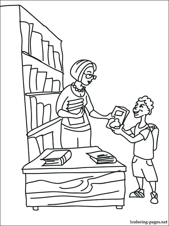 560x750 Library Coloring Page Library Coloring Pages Librarian Coloring