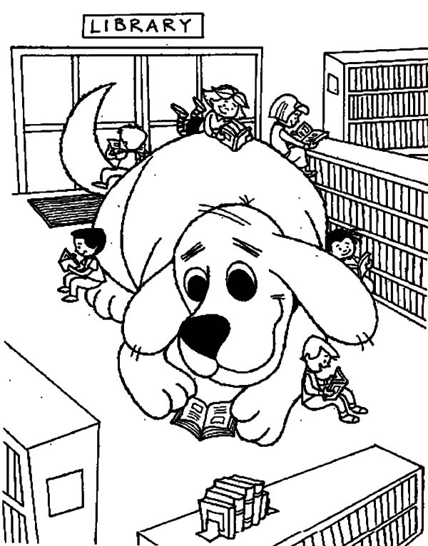 600x766 Clifford The Dog In Library Coloring Pages