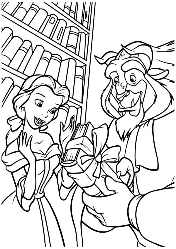 600x848 Disney Beast Give Belle A Book In Library Coloring Pages