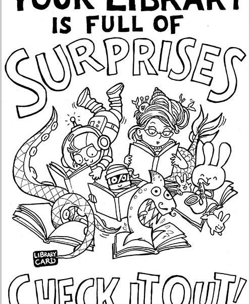 495x600 I Love My Library Coloring Page Coloring Page