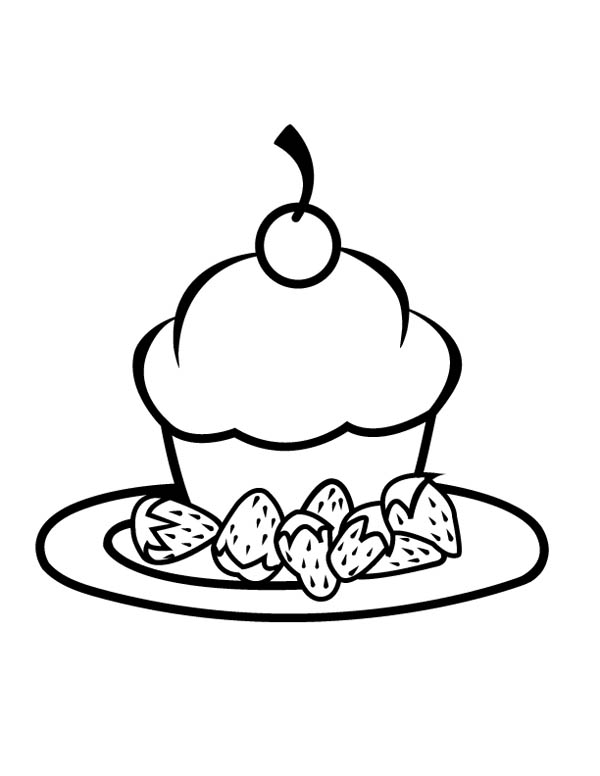 600x776 Cupcake With Strawberry On Plate Coloring Page