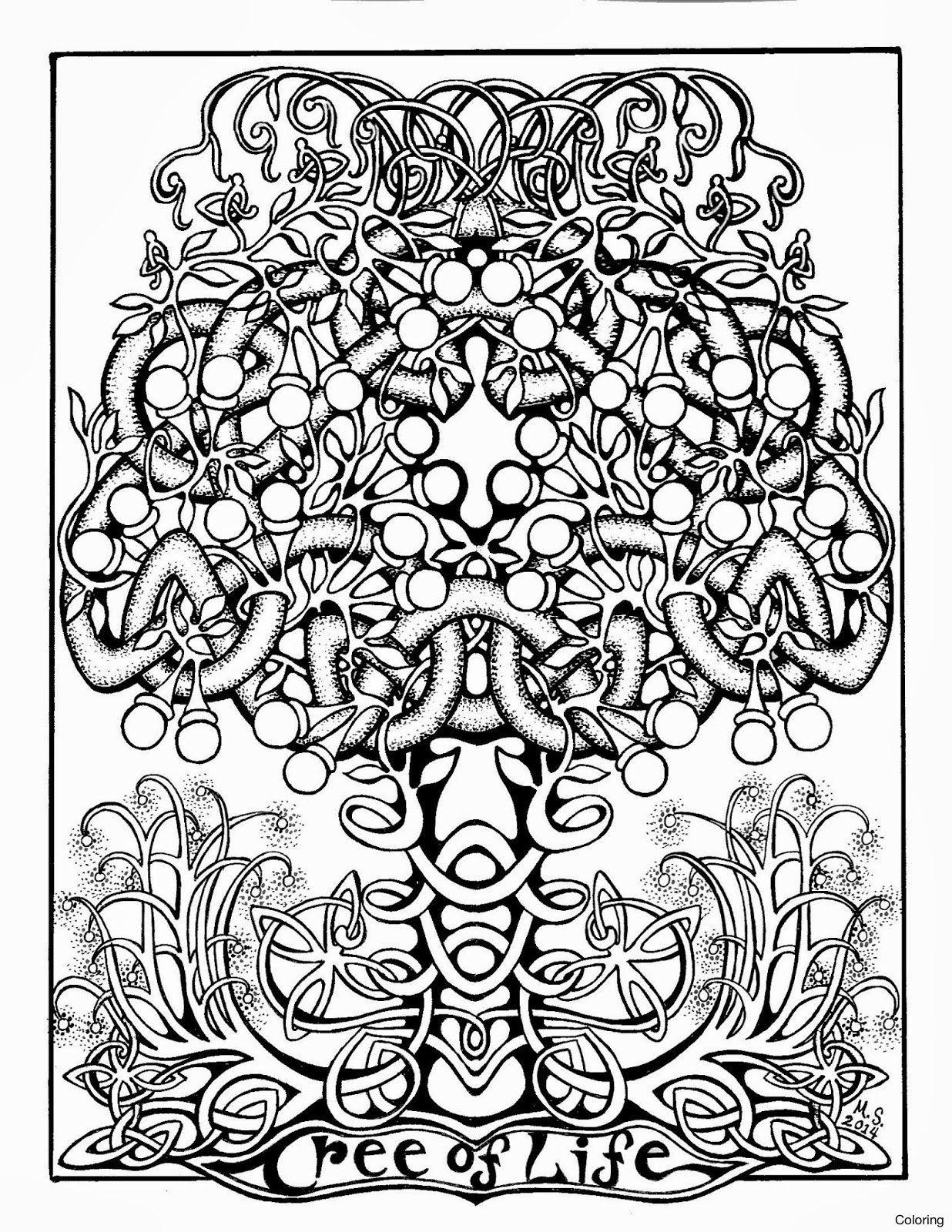 1236x1600 Celtic Tree Life Coloring Page Within Pages For Adults