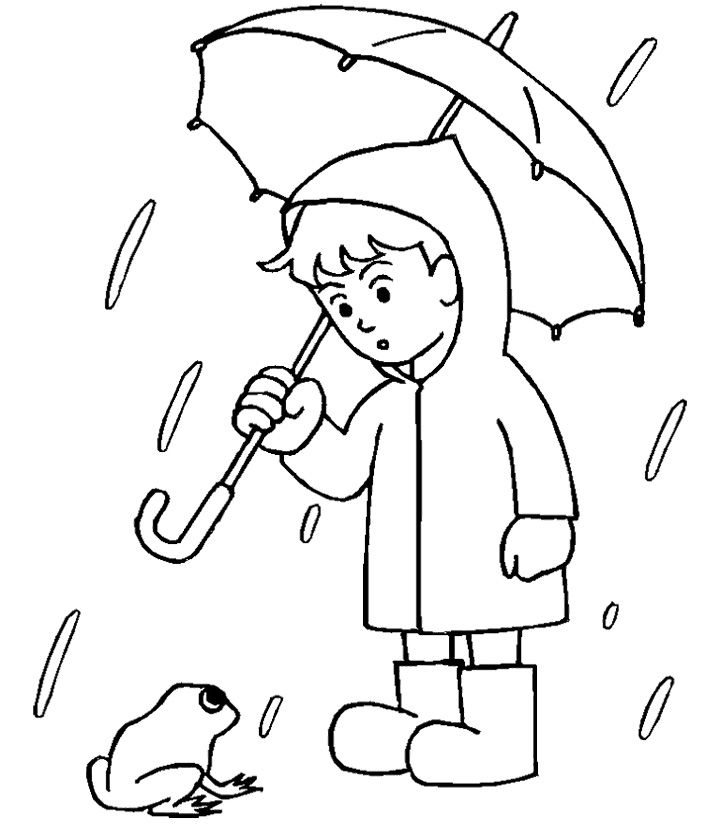 720x837 Boy With His Umbrella And Rain Jacket Under The Spring Rain
