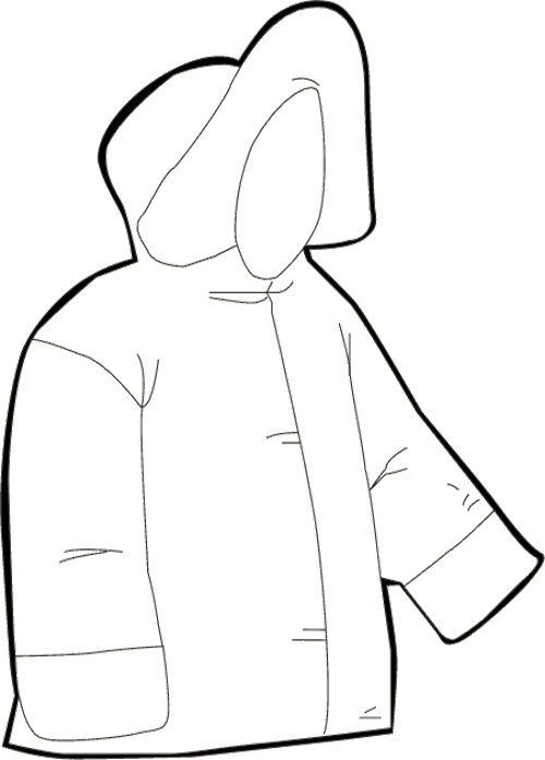 500x697 Winter Jacket Clipart Black And White