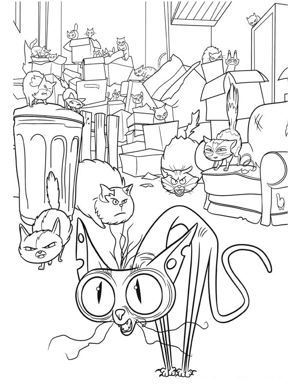 612x792 The Alley Cats From Secret Life Of Pets Coloring Pages