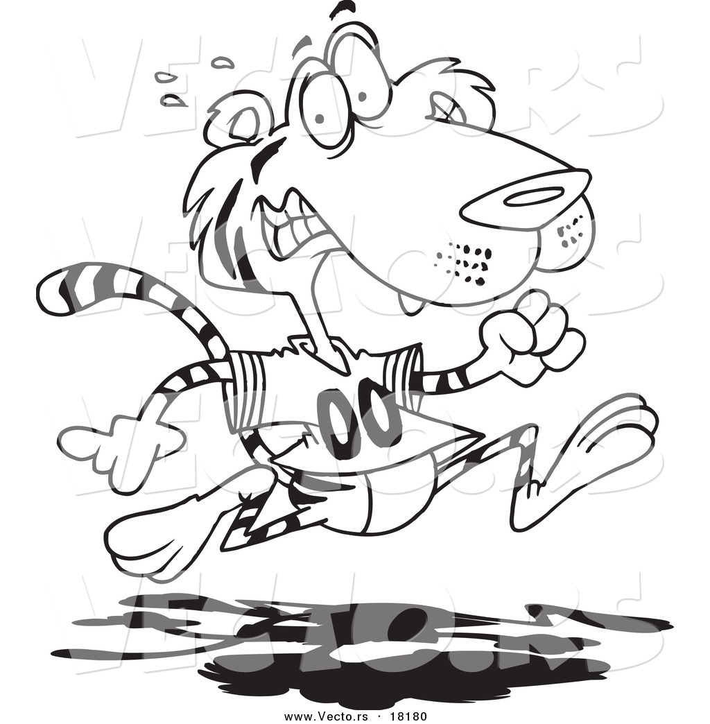 1024x1044 Vector Of A Cartoon Retreating Tiger