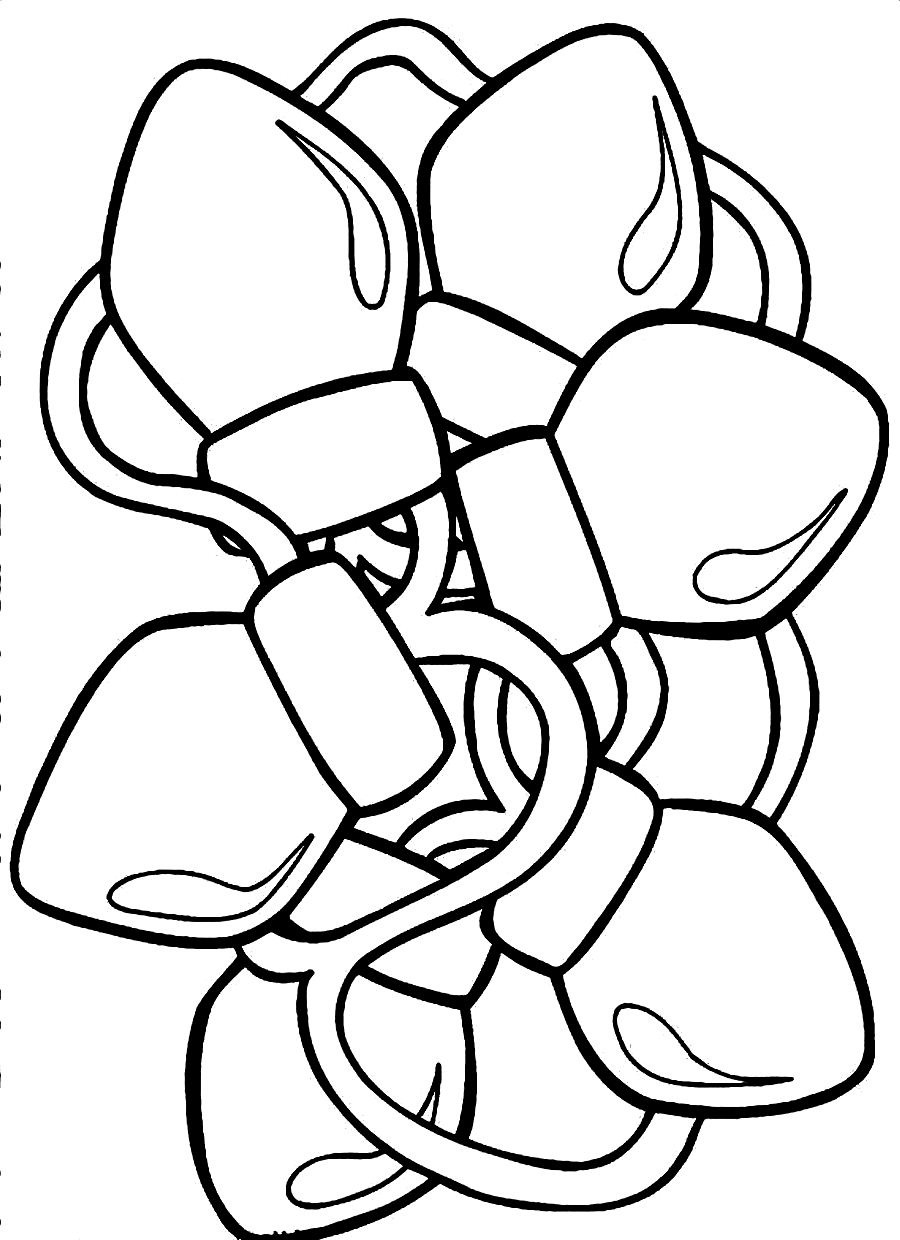 900x1240 Christmas Lights Coloring Pages Free With Light Page