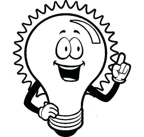 600x569 Light Coloring Pages Light Coloring Page Light Bulb Shining