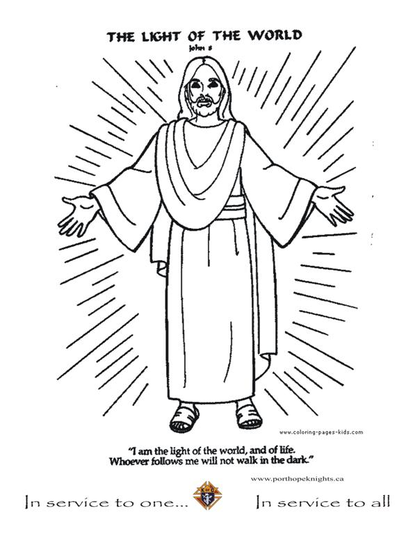 594x768 Jesus Is The Light Of The World Coloring Page In Stylish Image