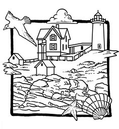 236x256 Landscapes, Beach Landscapes With Lighthouse Coloring Pages Beach