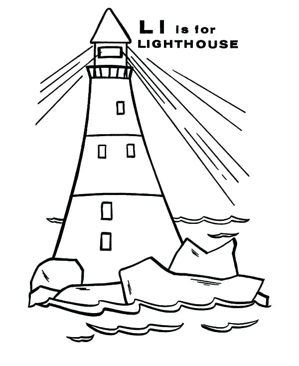 600x734 Lighthouse Coloring Pages With A Boat Free Printable Coloring