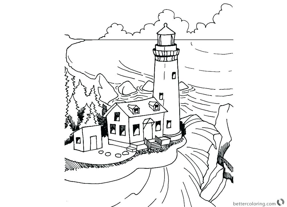 1000x720 A Lighthouse Coloring Page Color The Bible Retirement Gift Ideas