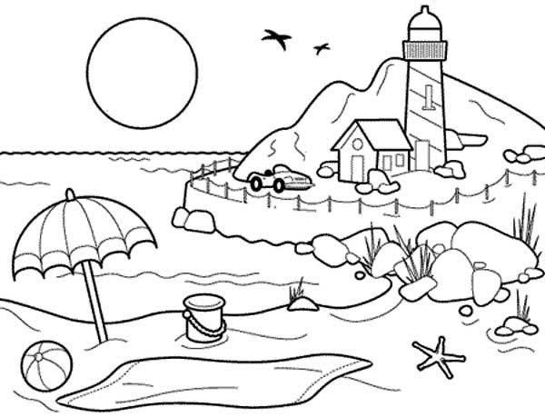 600x459 Beach Coloring Book Landscapes Beach Landscapes With Lighthouse