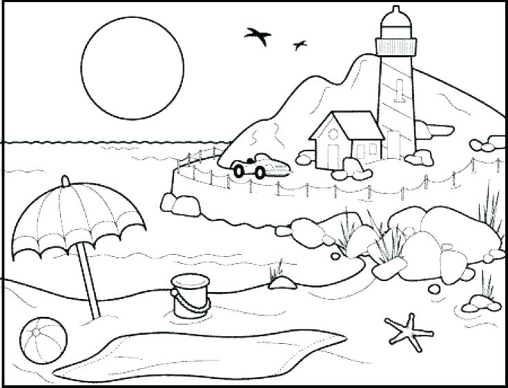 736x562 Coloring Pages Beach Beach For Coloring Beach Coloring Beach