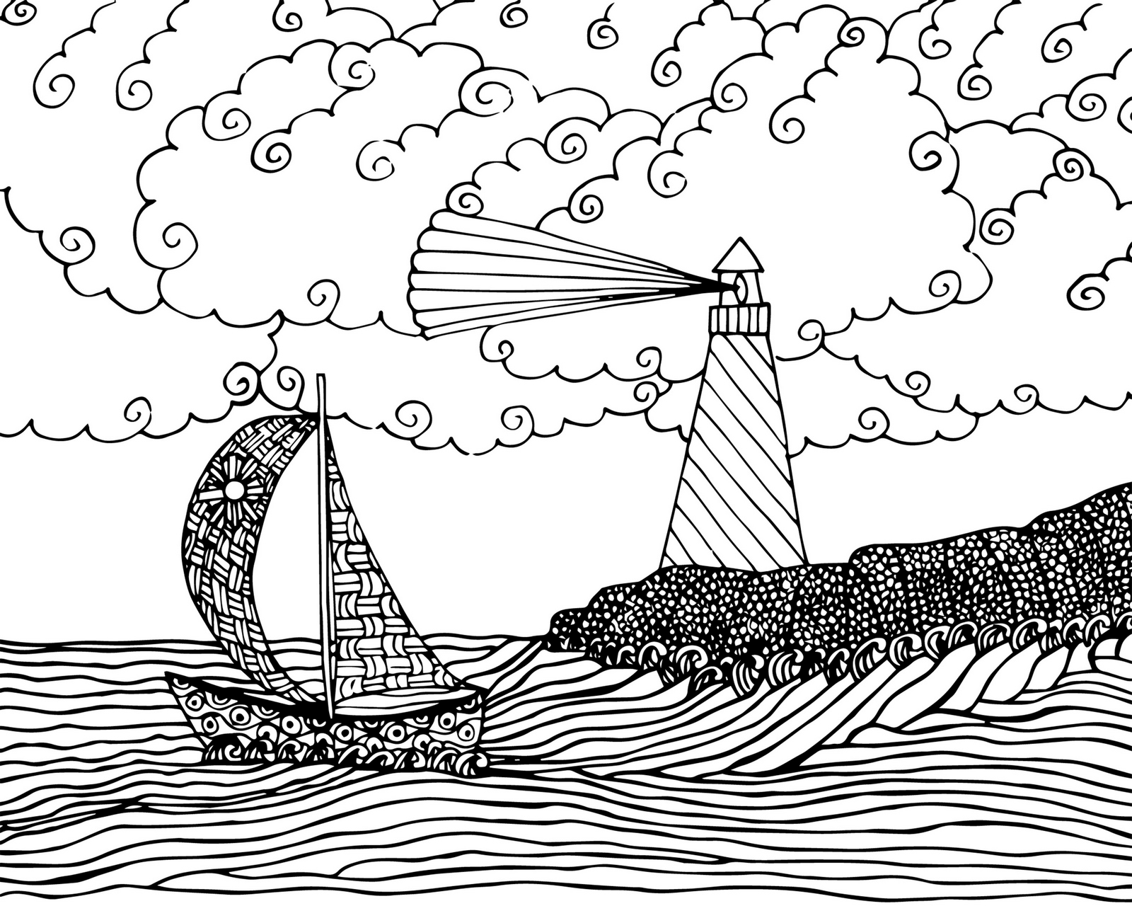 1600x1280 Printable Lighthouse Beach Coloring Sheets Pages Free Kids