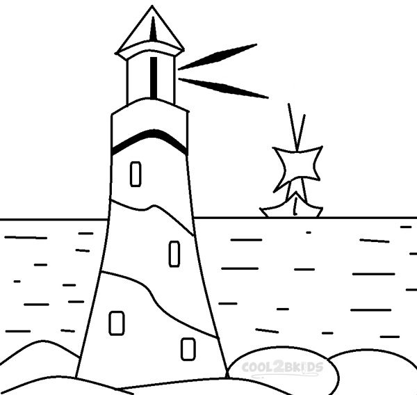 600x568 Cozy Design Lighthouse Coloring Pages Printable For Kids