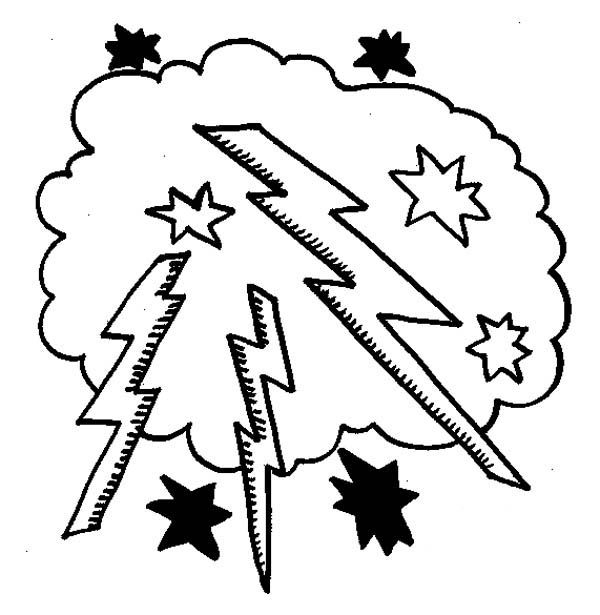 600x615 Lighting Bolt In The Cloud Coloring Page Color Luna