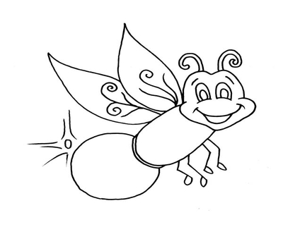 400x322 Lightning Bug Coloring Sheet Page Image Clipart Images