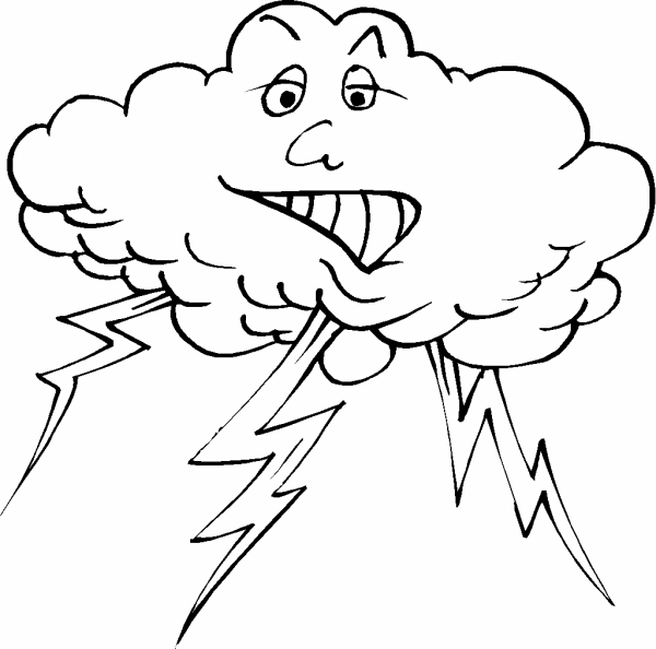 600x594 Lightning And Cloud Coloring Page
