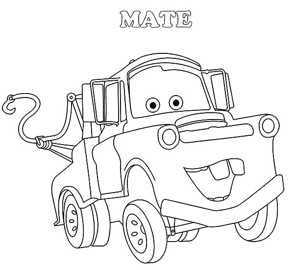 600x551 Lightning Mcqueen And Mater Coloring Pages Mater Coloring Page