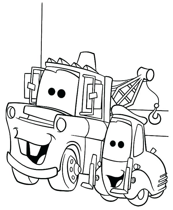 600x730 Lightning Mcqueen And Mater Coloring Pages Mater Coloring Page Tow