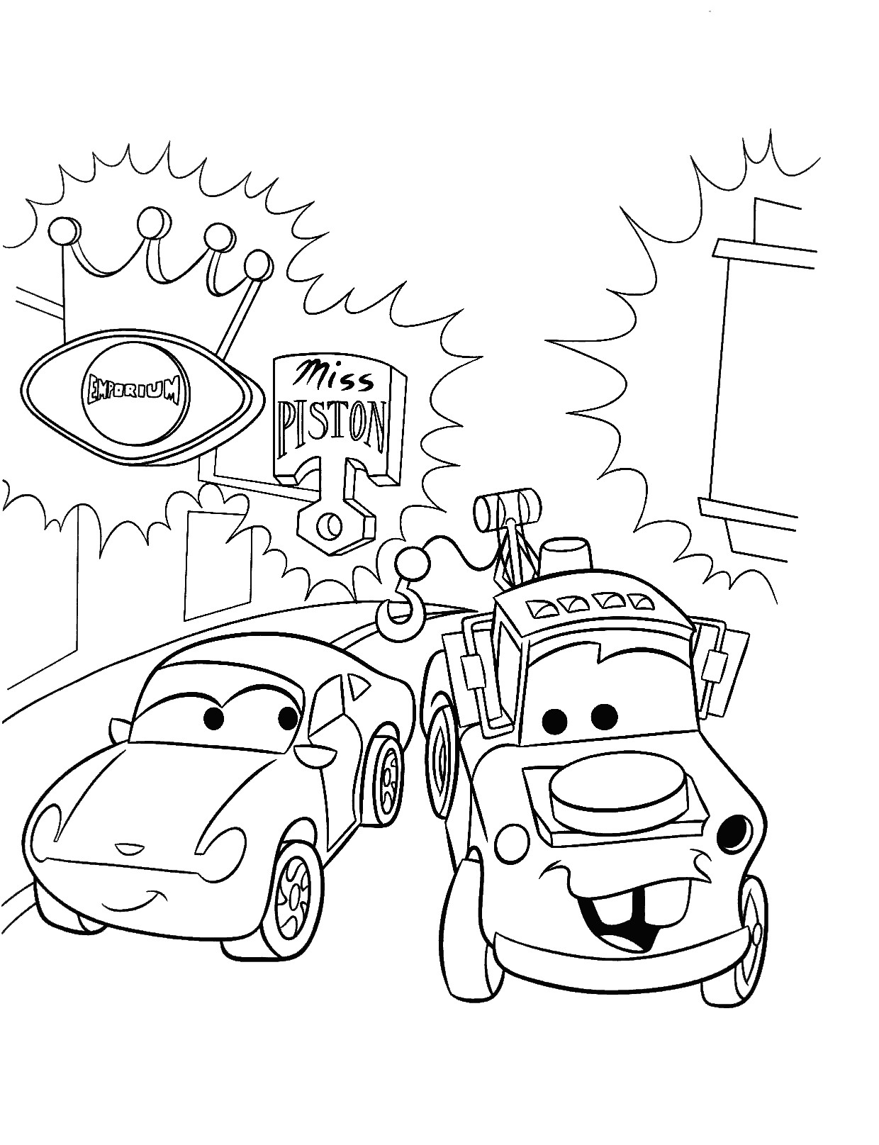 Lightning Mcqueen And Mater Coloring Pages at GetDrawings ...