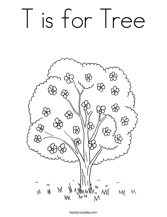 685x886 T Is For Tree Coloring Page